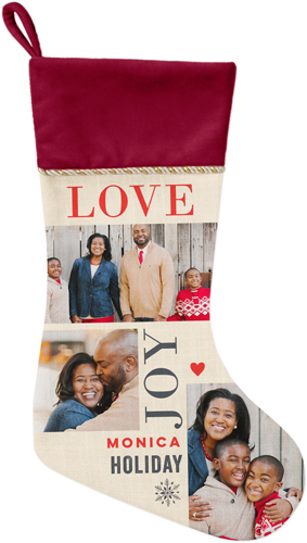 Love Joy Holiday Christmas Stocking, Cranberry, Beige