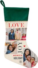 love joy holiday christmas stocking