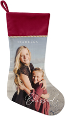contemporary blessed script christmas stocking
