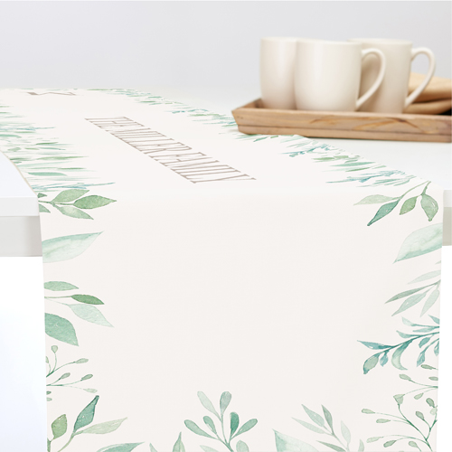 Foliage Border Table Runner, 108 x 16, Beige