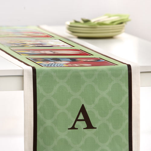 Mosaic Monogram Table Runner, 108 x 16, Green