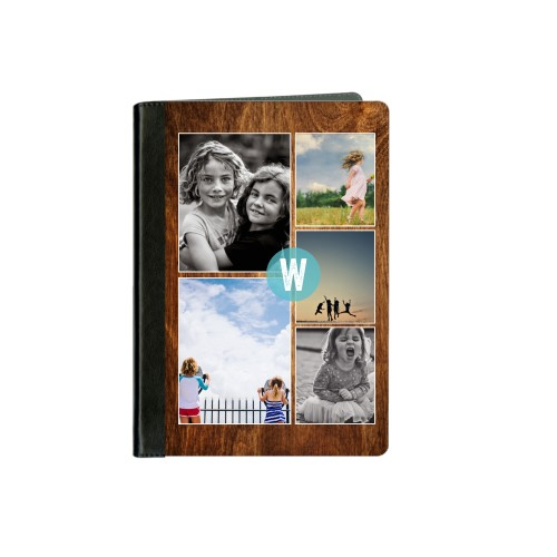 Faux Woodgrain Circle Monogram ipad Case, Black, iPad mini, mini 2, DynamicColor