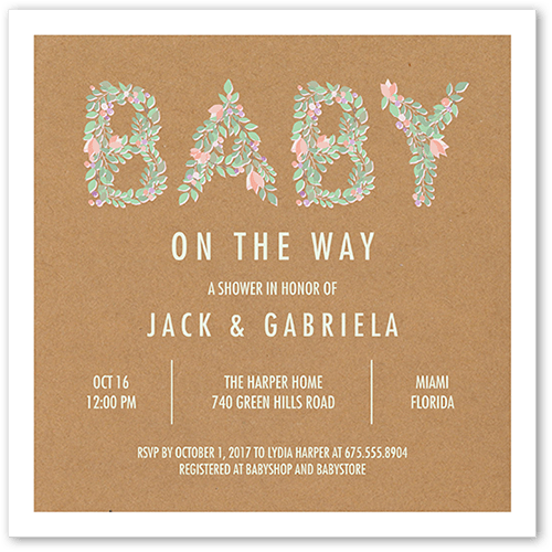 Blossoming Baby Baby Shower Invitation, Square Corners