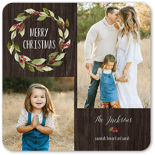 Wintery Wreath Holiday Card, Rounded Corners
