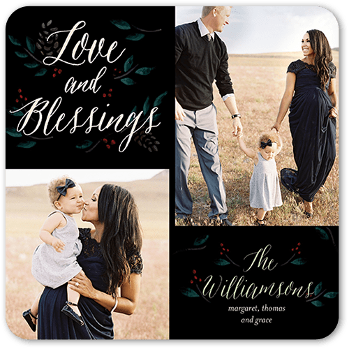 Blessed Love Holiday Card, Rounded Corners