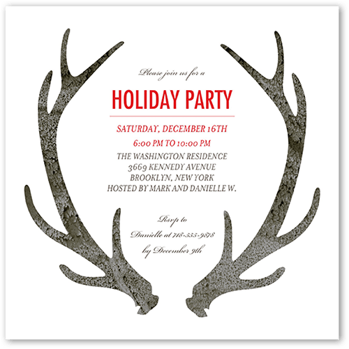 Arctic Antlers Holiday Invitation, Square