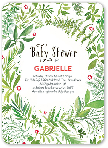 Forest Of Ferns Baby Shower Invitation, Rounded Corners