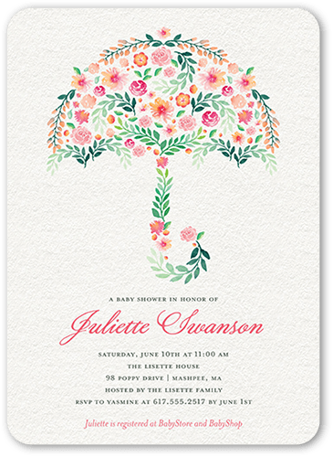 Floral Umbrella Baby Shower Invitation, Rounded Corners