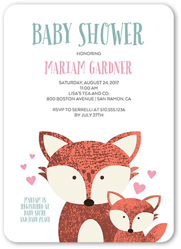 Big Fox Little Fox Baby Shower Invitation, Rounded Corners