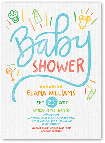 Baby Drawings 5x7 Unique Baby Shower Invitations Tiny Prints