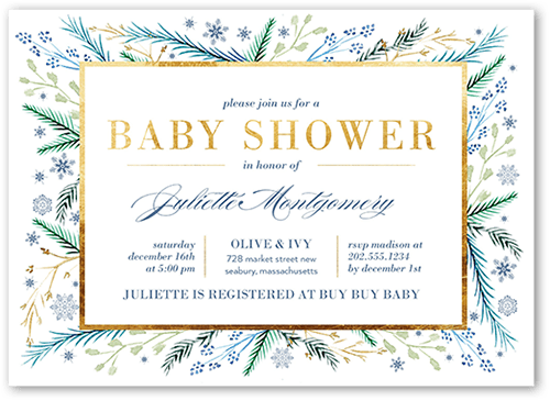 Snow Foliage Baby Shower Invitation, Square Corners
