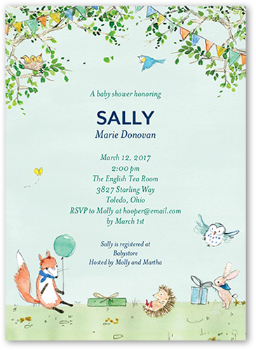 Sweet Woodland Baby Shower Invitation, Square Corners