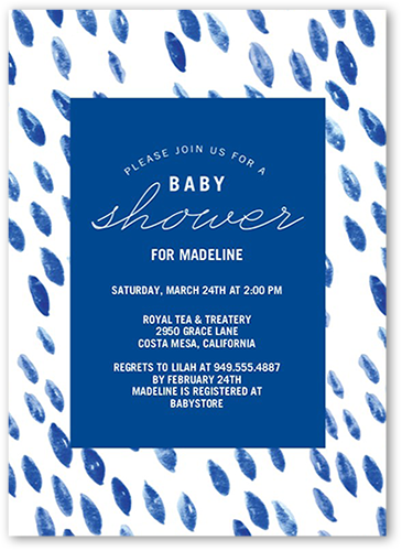 Watercolor Showers Baby Shower Invitation, Square Corners