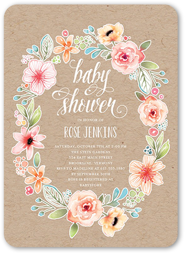 Wild Flower Wreath Baby Shower Invitation, Rounded Corners