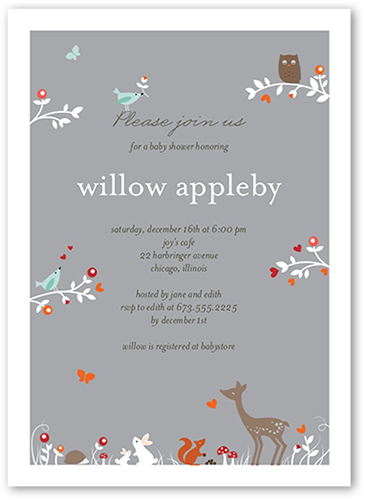 Seven things to include on your baby shower invites shutterfly woodland wonder shower baby shower invitation filmwisefo Image collections