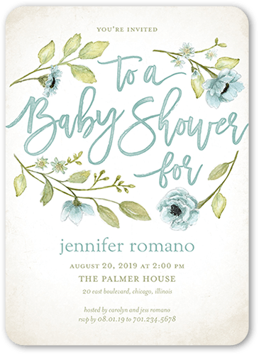 Lovely Blooms Baby Shower Invitation, Square