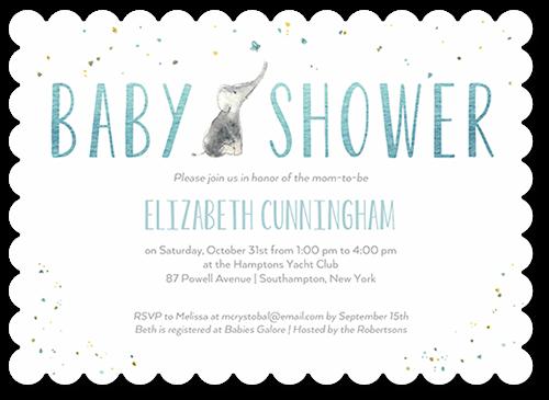 Tiny Elephant Boy Baby Shower Invitation, Scallop Corners