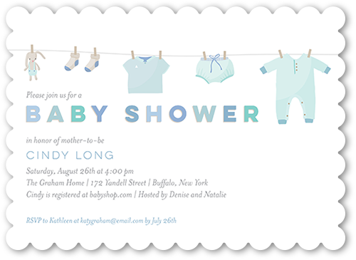 Clothes Shower Boy Baby Shower Invitation, Scallop Corners