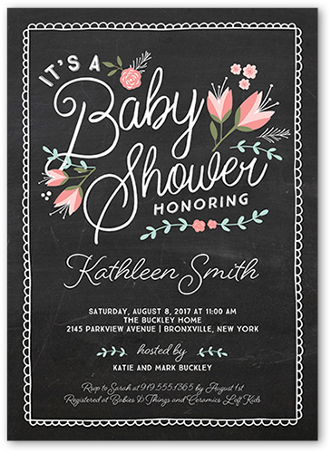 Crafty Florals Baby Shower Invitation, Square