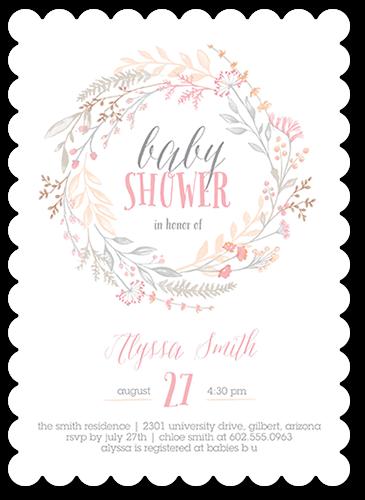 Delicate Wildflowers Baby Shower Invitation, Scallop Corners