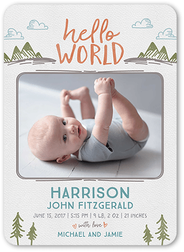 Wild Illustration Birth Announcement, Rounded Corners