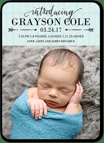 Arrowed Intro Boy Birth Announcement, Square