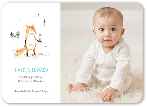 Cute Fox Boy Birth Announcement, Rounded Corners