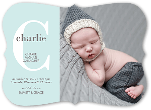 Baby Monogram Boy Birth Announcement, Bracket Corners