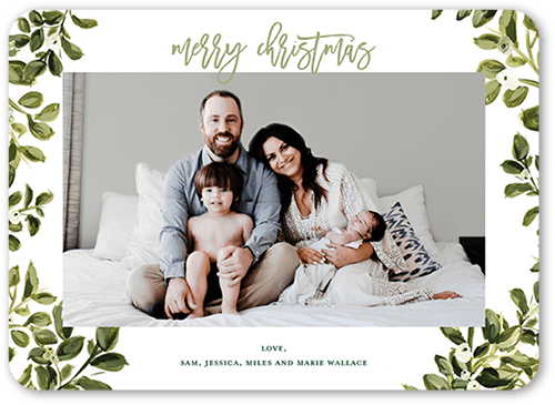 Mistletoe Boundary Holiday Card, Rounded Corners