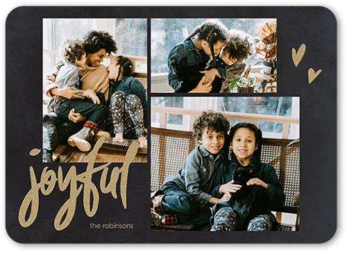 Joyful Hearts Holiday Card, Rounded Corners
