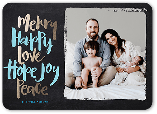 Bountiful Words Holiday Card, Rounded Corners