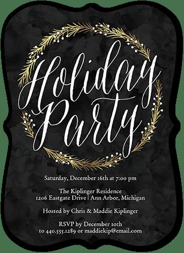 Shimmering Circlet Holiday Invitation, Square