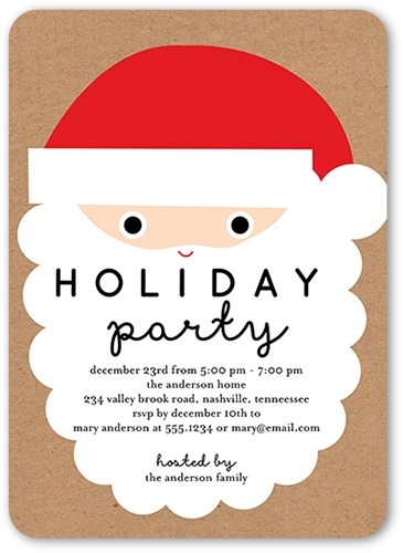 Santa Party Holiday Invitation, Rounded Corners