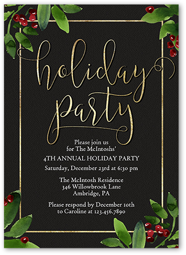 Holly Frame Celebration 5x7 Unique Holiday Party Invitations Tiny