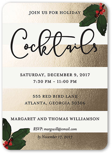 Chic Aperitif Holiday Invitation, Rounded Corners