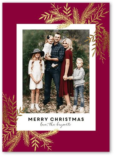 Luxe Pines Christmas Card, Square Corners