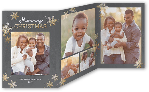 Snowy Festivity Frames Holiday Card, Square