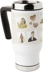family heart collage travel mug with handle