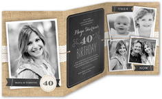 chalkboard burlap birthday invitation 5x7 trifold