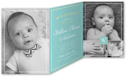 Classic Introduction Boy Birth Announcement
