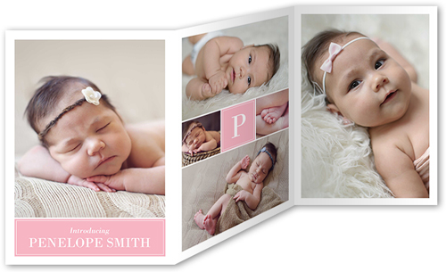 Cherished Moments 5x7 TriFold Girl Birth Announcements – Birth Announcement Card