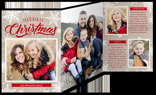Merry Burlap Snowflake Christmas Card, Square