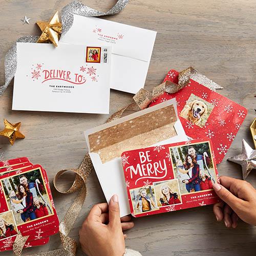 merry greetings grid christmas card - Tri Fold Christmas Cards