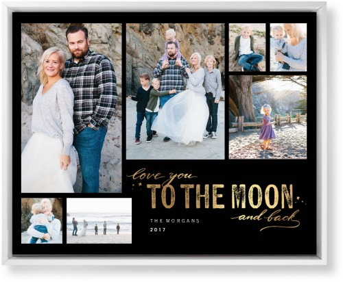 To The Moon and Back Script Mounted Wall Art, Single piece, White, 16 x 20 inches, Black