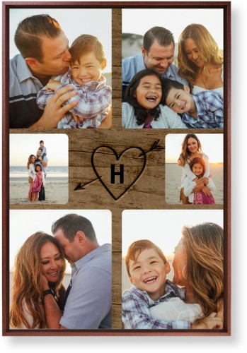 Initial Wood Heart Mounted Wall Art, Single piece, Brown, 20 x 30 inches, Brown
