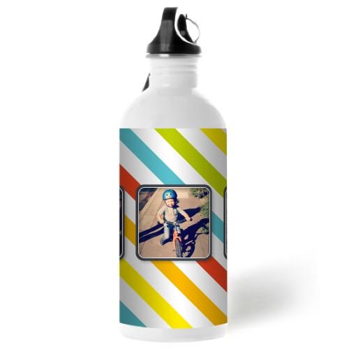 Fun Stripes Water Bottle, 20 oz, Multicolor