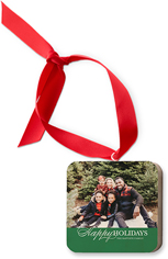 happy holiday script wooden ornament