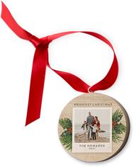 winter spruce frame wooden ornament