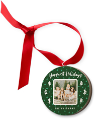 happiest holidays trees wooden ornament