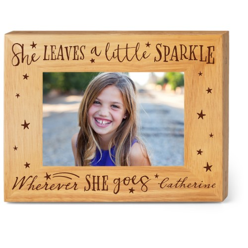 She Sparkles Wood Frame, - No photo insert, 9x7 Engraved Wood Frame, White